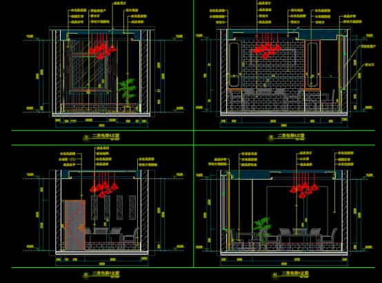 户型二层立面CAD图纸资源下载