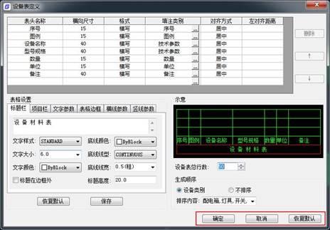 CAD设备定义表中操作按钮说明