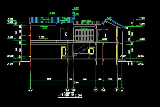 二层建筑设计CAD剖面图纸下载