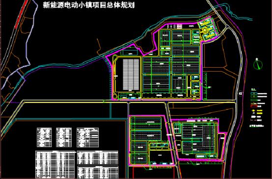 新能源动力小镇规划设计CAD图纸