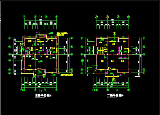 3层别墅建筑设计CAD图纸