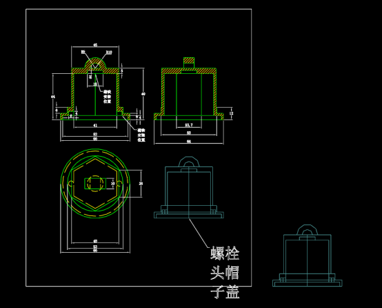 螺栓盖帽尺寸图形设计CAD图纸下载