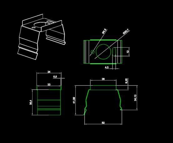 金属卡扣零部件CAD设计图纸